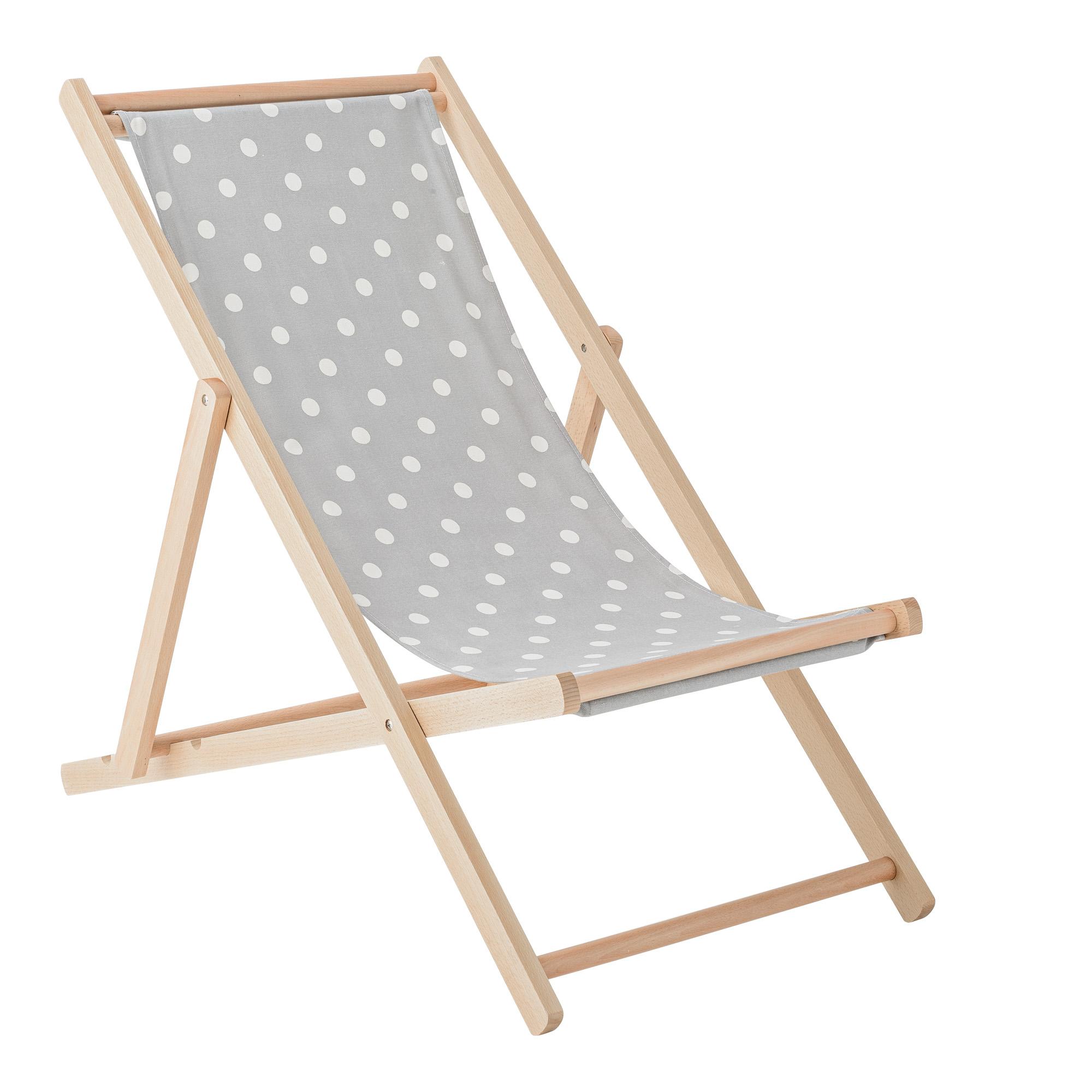 Sedia Sdraio Vintage.Deck Chair Grigio Pois Bianco