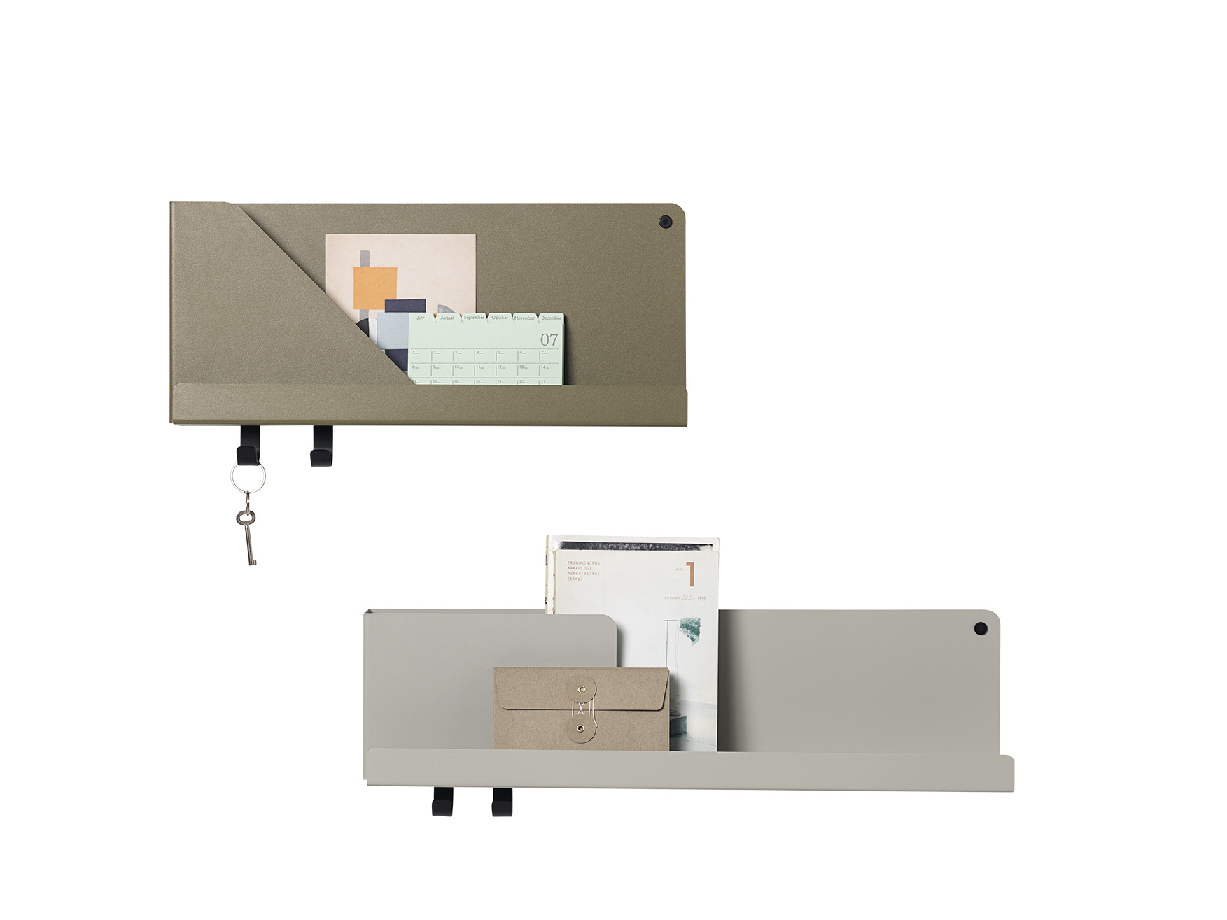 Mensole FOLDED SHELVES_media grigio_piccola verde oliva