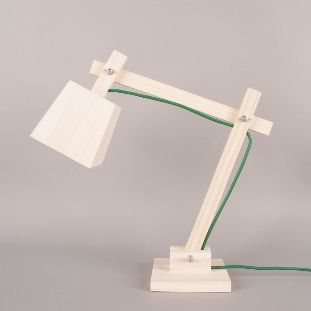 wood lamp green cord