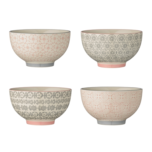 set da 4 ciotole in ceramica decorata Bloomingville