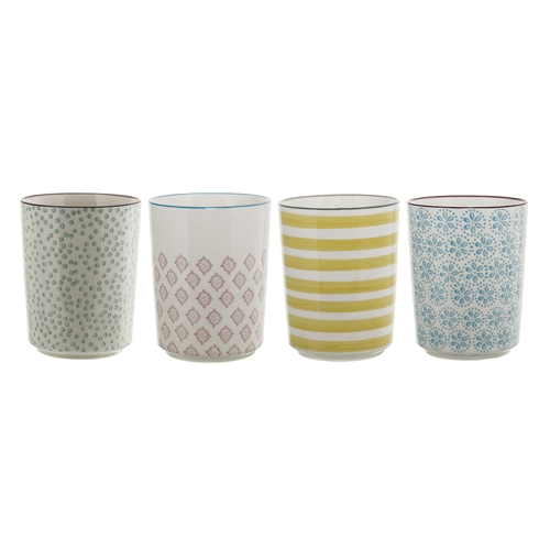 set di 4 bicchiere Patrizia in ceramica decorata di Bloomingville