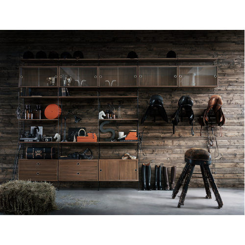 STRING SHELF SYSTEM WALNUT-BLACK
