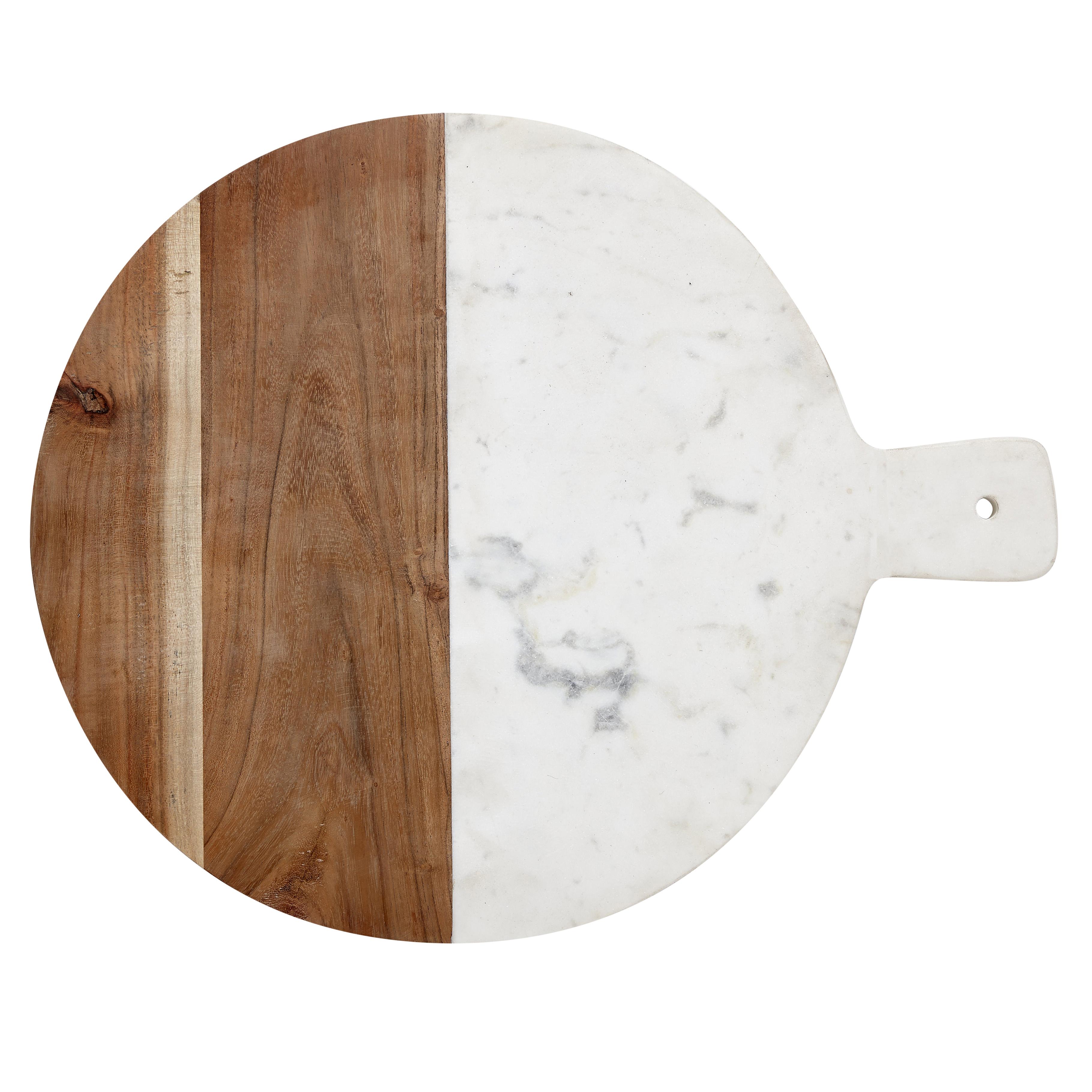 Tagliere rotondo in legno di mango e marmo bianco hubsch for Tagliere in marmo